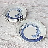 Ceramic luncheon plates, 'Blue Winds' (set of 4) - Four Artisan Crafted Blue and White Ceramic Luncheon Plates