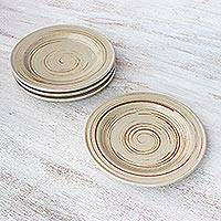 Ceramic dessert plates, 'Typhoon' (set of 4) - Beige and Brown Set of Four Ceramic Dessert Plates