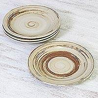 Ceramic dinner plates, 'Typhoon' - Beige and Brown Set of Four Ceramic Dinner Plates