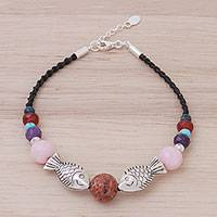 Multi-gemstone beaded bracelet, 'Rainbow Sea' - Rainbow Multi-Gemstone Silver Fish Beaded Bracelet