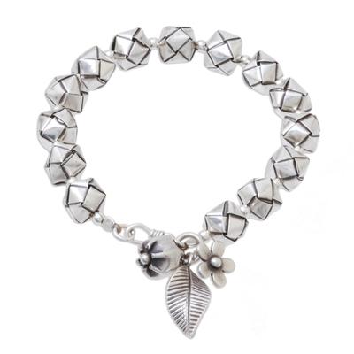 Sterling and Karen Silver Origami-Inspired Beaded Bracelet