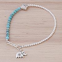 Magnesite charm bracelet, 'Sky Elephant' (Thailand)