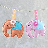 Felt ornaments, 'Napping Elephants' (pair) - Felt Elephant Ornaments in Orange and Pink (Pair)