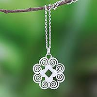 Sterling silver pendant necklace, 'Spiral Labyrinth' - Handcrafted Sterling Silver Spiral Motif Pendant Necklace
