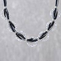 Sterling silver and silk pendant necklace, 'Beautiful Friendship' - Hammered Sterling Silver and Black Silk Link Necklace