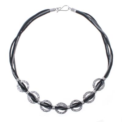 Hammered Sterling Silver and Black Silk Link Necklace