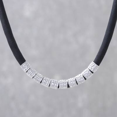Sterling silver and silk beaded necklace, 'Hammer Song' - Hammered Sterling Silver and Black Silk Fabric Necklace