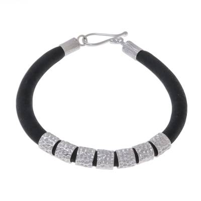 Hammered Sterling Silver and Black Silk Fabric Bracelet