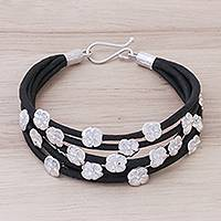 Sterling silver and silk wristband bracelet, 'Blooming Season' - Black Silk and Sterling Silver Floral Wristband Bracelet