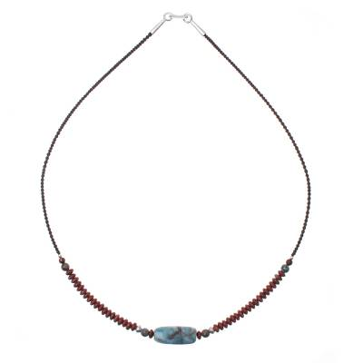 Jasper Beaded Pendant Necklace from Thailand