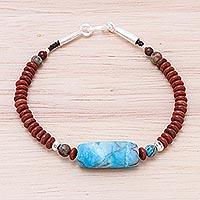Jasper beaded pendant bracelet, 'Lake Day' (Thailand)