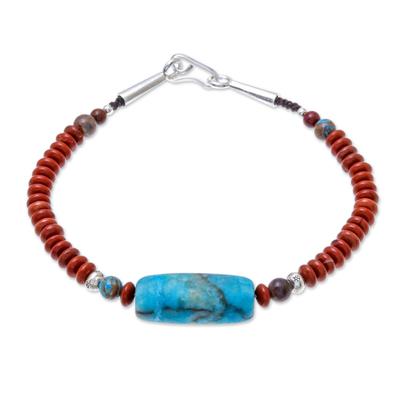 Jasper Beaded Pendant Bracelet from Thailand