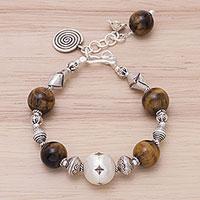Tiger's eye charm bracelet, 'Textured Treasures' (Thailand)