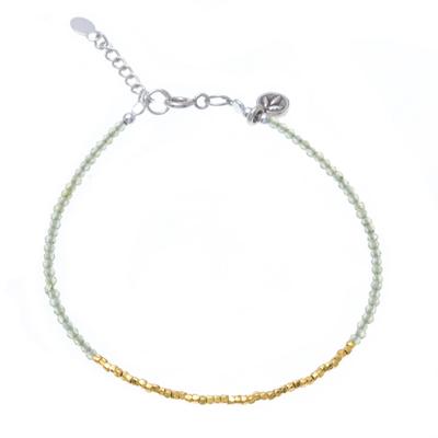 Peridot 14K Gold-Plated Karen Silver Beaded Charm Bracelet