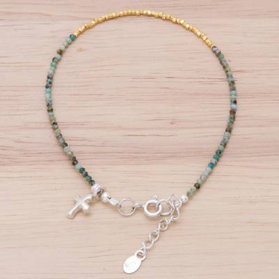 Gold accent silver beaded bracelet, 'Gilded Sea' - 14K Gold-Plated Karen Silver Beaded Cross Charm Bracelet