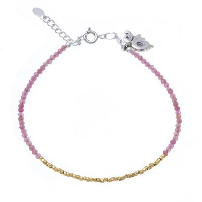 Quartz 14K Gold-Plated Karen Silver Beaded Charm Bracelet