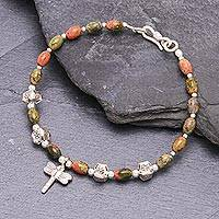 Unakite beaded charm bracelet, 'Divine Dragonfly' - Dragonfly Charm 950 Silver and Unakite Bracelet