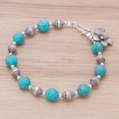 Silver beaded charm bracelet, 'Floral Fete' - Beaded Silver 950 and Magnesite Bracelet with Charms