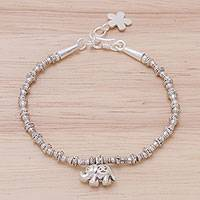 Silver beaded charm bracelet, 'Elephant Journey' - 950 Silver Beaded Bracelet with Elephant Charm from Thailand