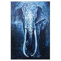 'The Great Elephant' (2016) - Original Oil On Canvas of Elephant in Blue Shades