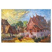 'Ton Kwen Chiang Mai' - Buddhist Temple Landscape Painting in Oil on Canvas