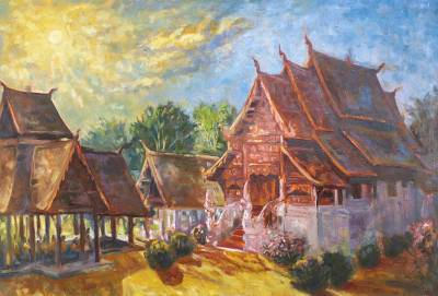 'Wat Ton Kwen Chiang Mai' - Buddhist Temple Landscape Painting in Oil on Canvas