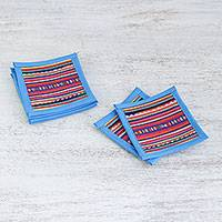 Cotton coasters, 'Lahu Blue' (set of 6) - Cotton Patchwork Coasters with Blue Trim (Set of 6)