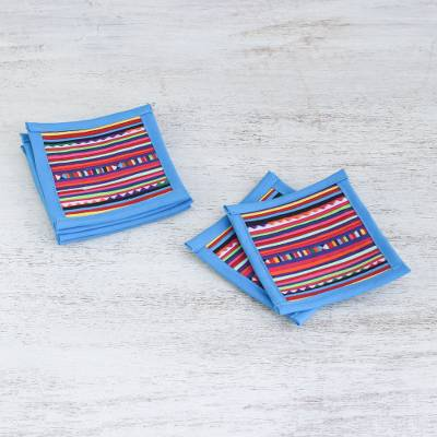Cotton coasters, Lahu Blue (set of 6)