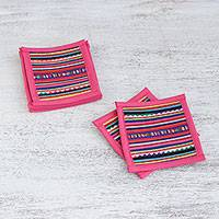 Cotton coasters, 'Sweet Lahu' (set of 6) - Cotton Patchwork Coasters with Pink Trim (Set of 6)