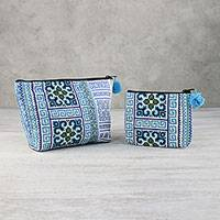 Cotton blend handbags, 'Hmong Beauty' (pair) - Hmong Hill Tribe Cotton Blend Handbags from Thailand (Pair)