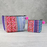 Cotton blend handbags, 'Hmong Elegance' (pair) - Bright Hmong Cotton Blend Handbags from Thailand (Pair)
