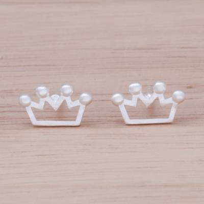 Sterling silver stud earrings, 'Delightful Crowns' - Sterling Silver Crown Stud Earrings from Thailand