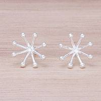 Sterling silver stud earrings, 'Delightful Stars' - Sterling Silver Star Stud Earrings from Thailand