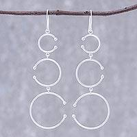 Sterling silver dangle earrings, 'Bubble Trio' - Circle Motif Sterling Silver Dangle Earrings from Thailand