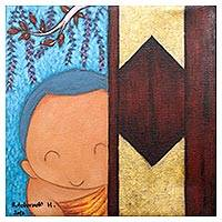'Novice Greeting' - Cute Naif Painting of a Buddhist Monk from Thailand