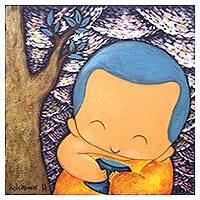 'Happy Giving II' - Signed Painting of a Cute Buddhist Monk with a Tree