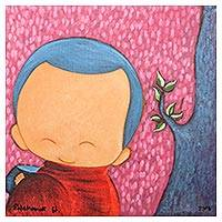 'Good Offering II' - Signed Naif Painting of a Cute Buddhist Monk from Thailand