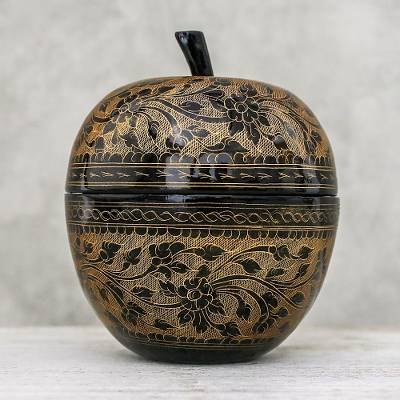 Mango wood decorative jar, 'Apple Delicacy in Orange' - Floral Engraved Mango Wood Apple Decorative Jar in Orange