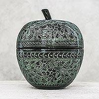 Mango wood decorative jar, 'Apple Delicacy in Green' - Floral Engraved Mango Wood Apple Decorative Jar in Green