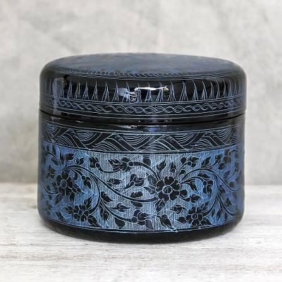 Mango wood decorative box, 'Exotic Flora in Blue' - Round Mango Wood Decorative Box in Blue from Thailand