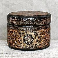 Mango wood decorative box, 'Exotic Flora in Gold' - Round Mango Wood Decorative Box in Gold from Thailand