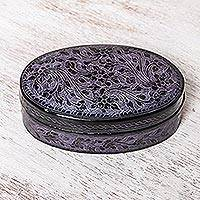 Mango wood decorative box, 'Lanna Aura in Purple' - Oval Mango Wood Decorative Box in Purple from Thailand