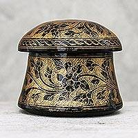 Mango wood decorative box, 'Floral Mushroom in Gold' - Lacquerware Mango Wood Decorative Box in Gold from Thailand