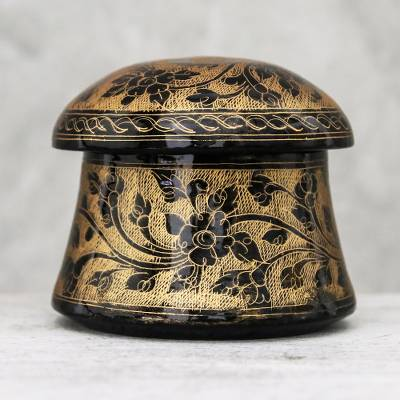 Mango wood decorative box, Floral Mushroom in Gold