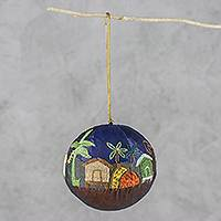 Silk and paper mache ornament, 'Elephant Crossing' - Embellished Silk Over Paper Mache Elephant Scene Ornament