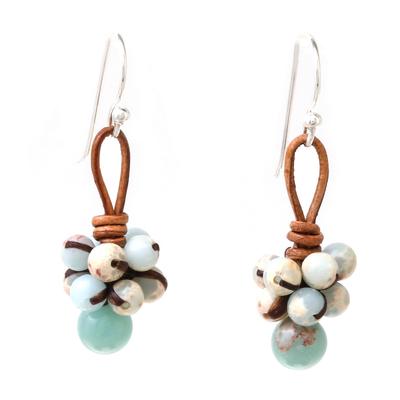 Jasper Cluster Dangle Earrings from Thailand