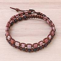 Garnet and rhodonite beaded wrap bracelet, 'Natural Charming Stones' - Garnet and Rhodonite Beaded Wrap Bracelet from Thailand