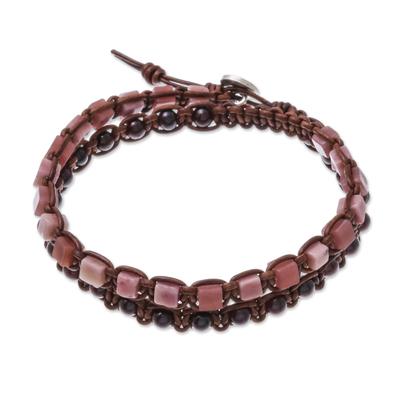 Garnet and Rhodonite Beaded Wrap Bracelet from Thailand