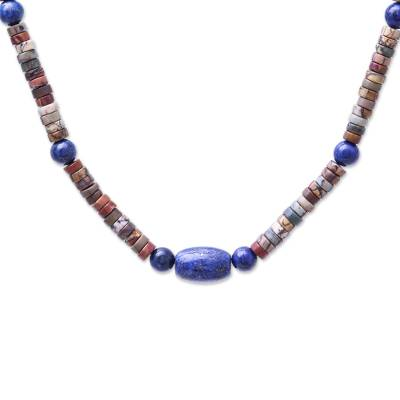 Lapis Lazuli and Jasper Beaded Necklace from Thailand