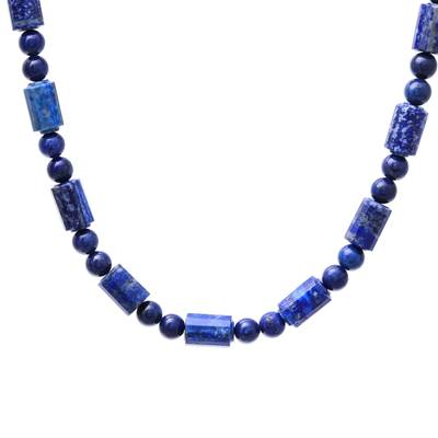 Blue Lapis Lazuli Beaded Necklace from Thailand